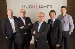 Hugh James acquisition (from left): Alun Jones (managing partner), Howard Richards (Claremont Richards), Simon Levine (Claremont Richards), Gareth Williams (senior partner), Ioan Prydderch (head of property and construction)