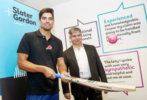 Happier days for Slater & Gordon, which sponsors England cricket captain Alistair Cook