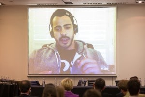 Andrew Arruda on screen at this week's conference