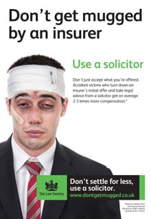 "Law Society takes on insurers with ""mugging"" advertising"