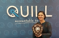 Maria Ashurst with the Peter Dye Memorial Shield
