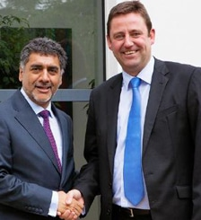 James Caan (l) and David Beech seal the deal back in 2012